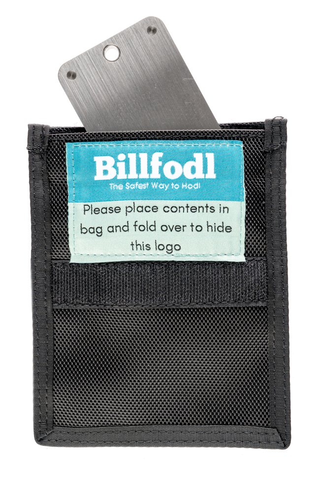 Billfodl product in a Faraday bag
