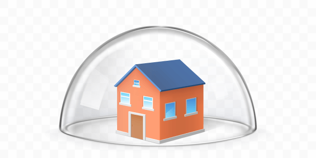 House covered with glass dome realistic vector