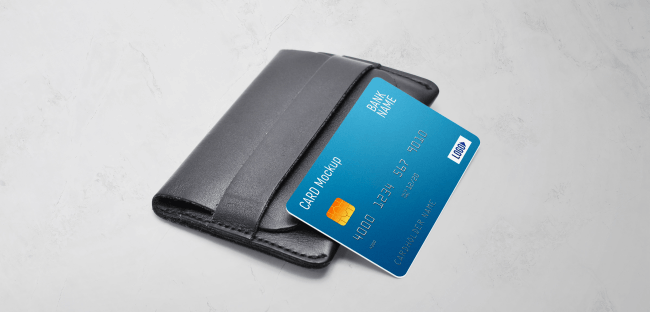 Plastic card on a wallet