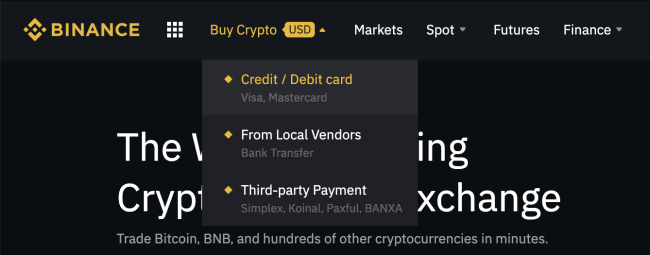 How to buy with credit card in Binance Exchange