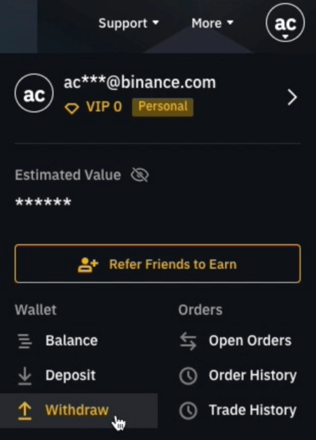 Withdraw funds from Binance
