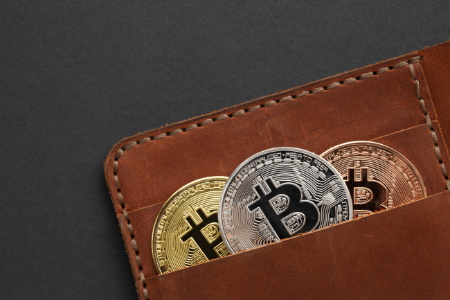 Bitcoins in a wallet illustration