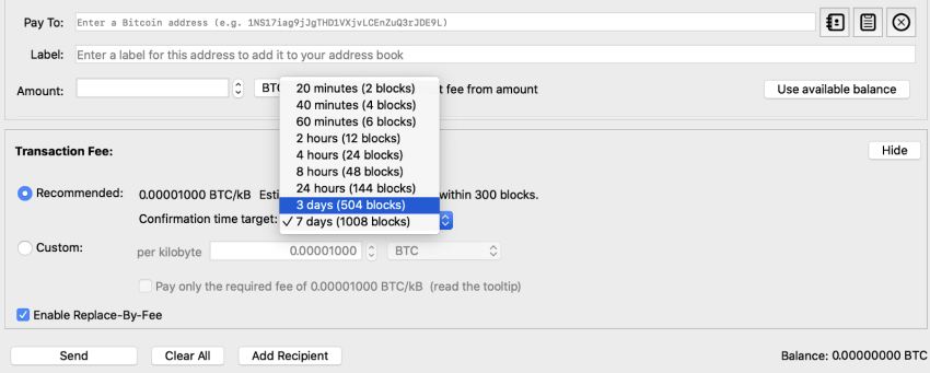 How to set Bitcoin fee with priority system