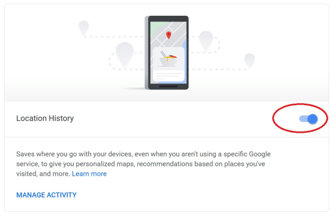 Uncheck Location History to Pause it