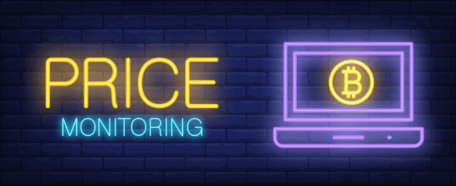 Price monitoring illustration in neon style