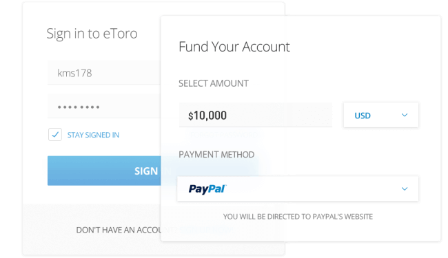 Screenshot of etoro.com pay with paypal