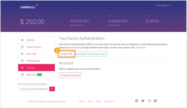 Secure Your Account with Two-Factor Authentication in Coinberry