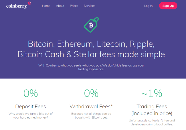 Screenshot of a coinberry.com fees pages