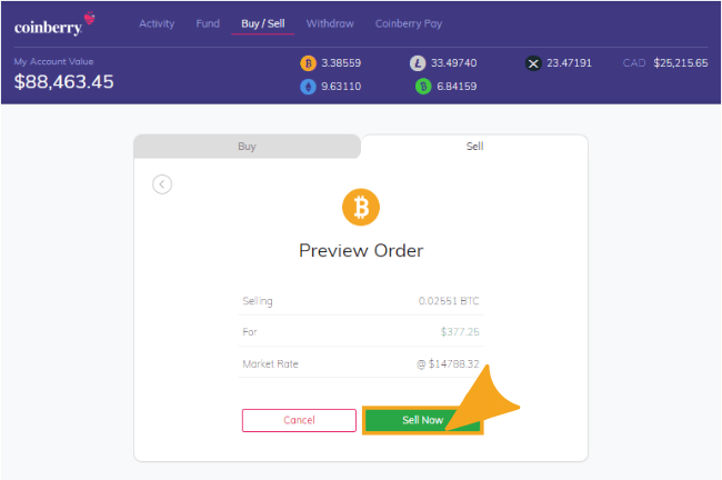 Preview order when selling coins with Coinberry