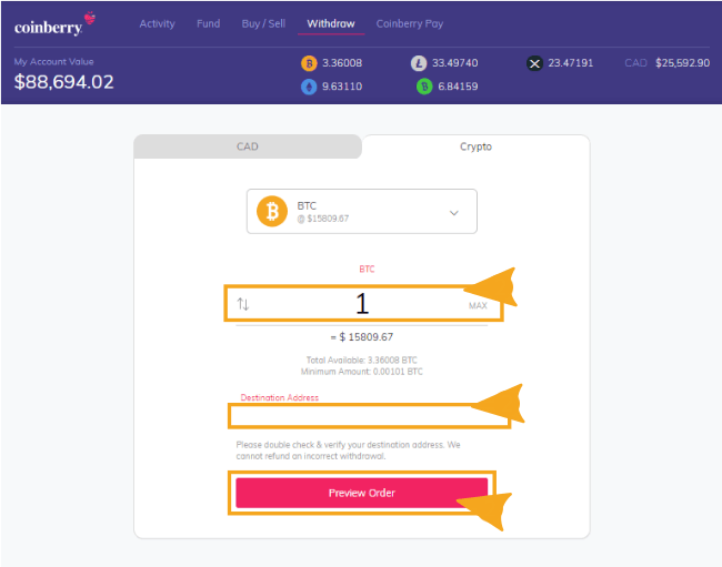 Withdrawing Crypto from Coinberry