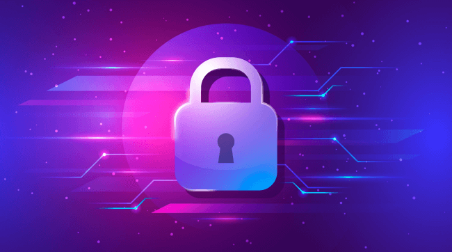 Padlock cyber security concept