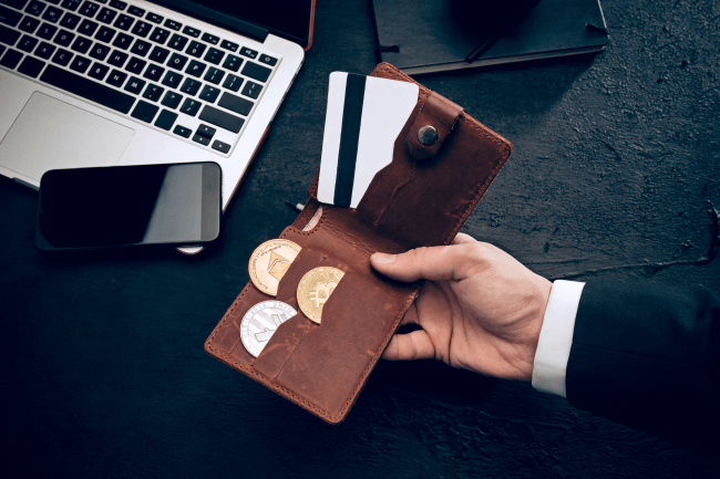 Hand holding a wallet with crypto and credit card