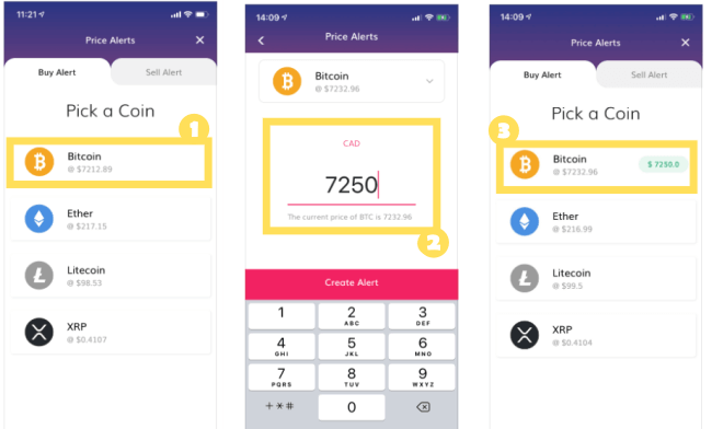 How to set price alerts on Coinberrys mobile app