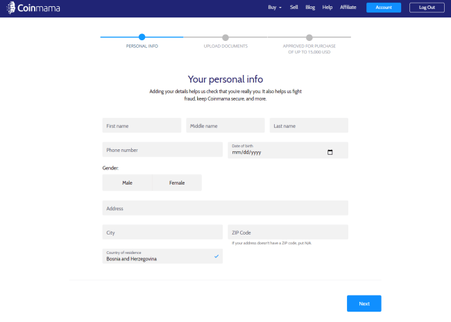 Verify Personal Details on CoinMama