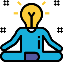 Person in yoga stand with lightbulb as a head