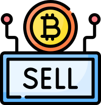 Bitcoin and sell sign