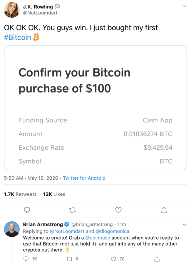 Brian Armstrong shills shitcoins to a fake twitter account of JK Rowling