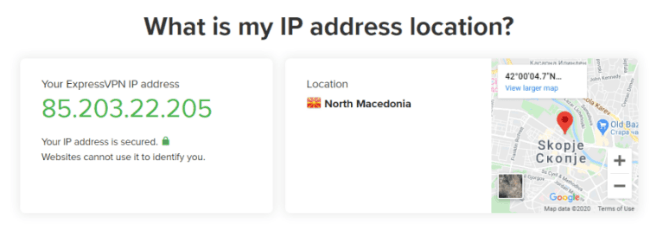 Express VPN connect to a North Macedonia