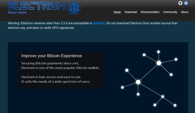 Screenshot of electrum.org