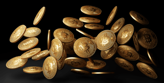 Golden bitcoins drop in black background