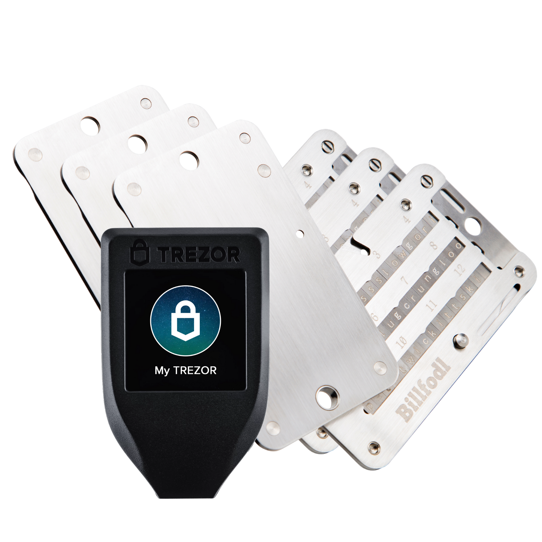 Trezor Model T and 3 Billfodls