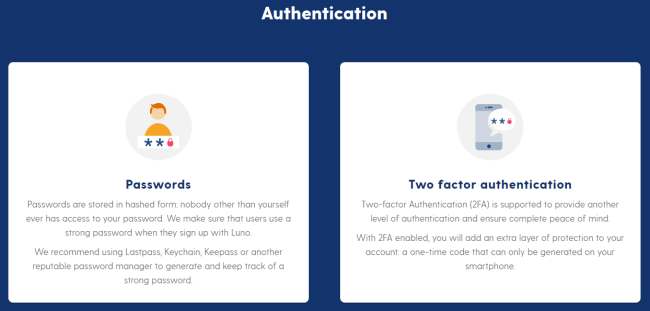 Screenshot of luno.com security page