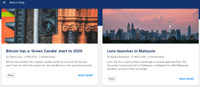 Screenshot of luno.com Blog