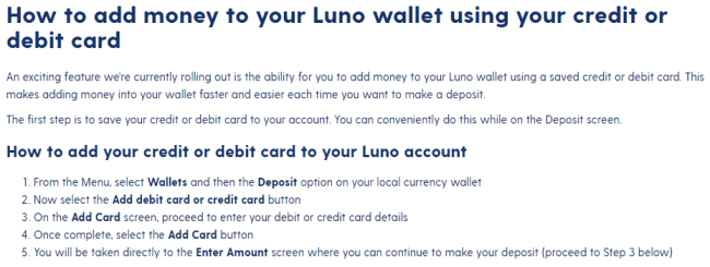 Screenshot of luno.com fund with card