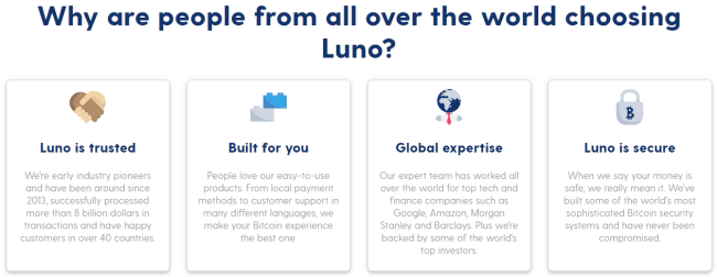 Screenshot of luno.com page section