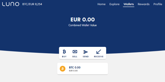 Screenshot of luno.com wallet