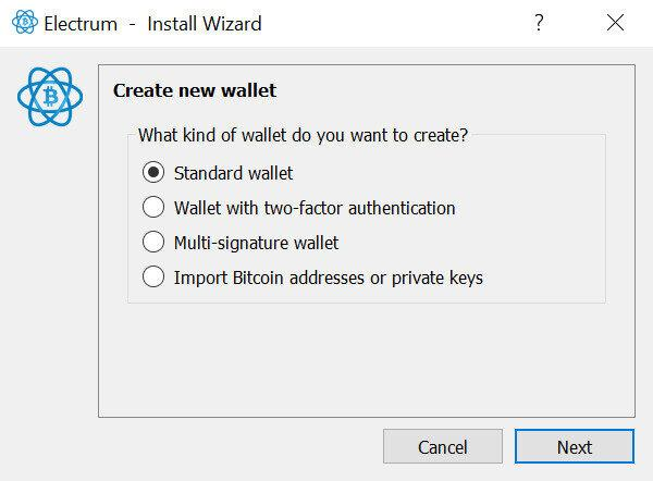 Selecting the Standard Wallet option in Electrum Wallet