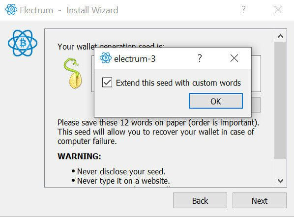 Extend this seed with custom words in Electrum Wallet Setup
