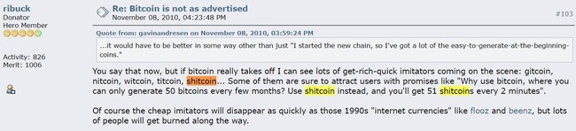 first known usage of shitcoin