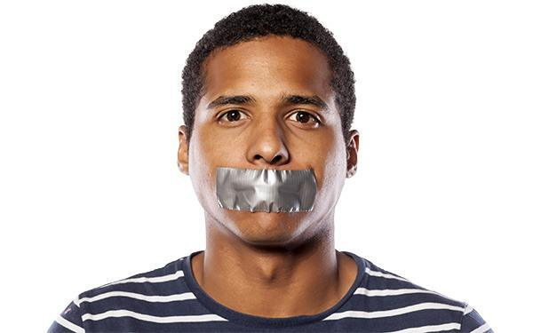 Man with ducktaped mouth