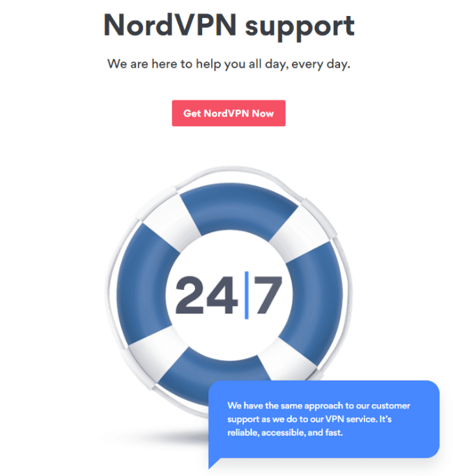 Screenshot of a nordvpn.com features page