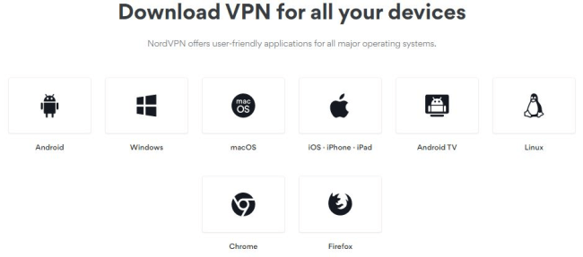 Screenshot of a nordvpn.com download page