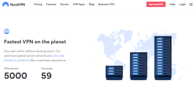Screenshot of a nordvpn.com homepage