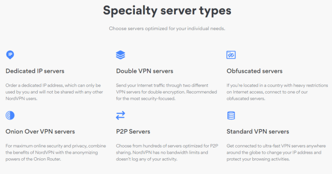 Screenshot of a nordvpn.com servers page