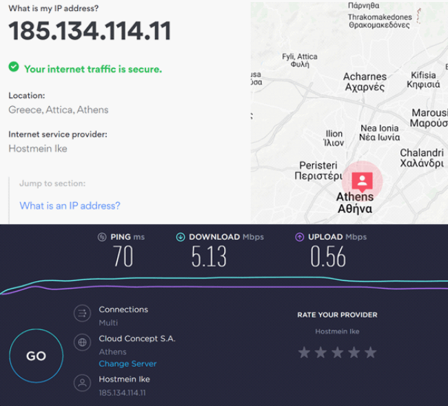 Speed test results on Greece server