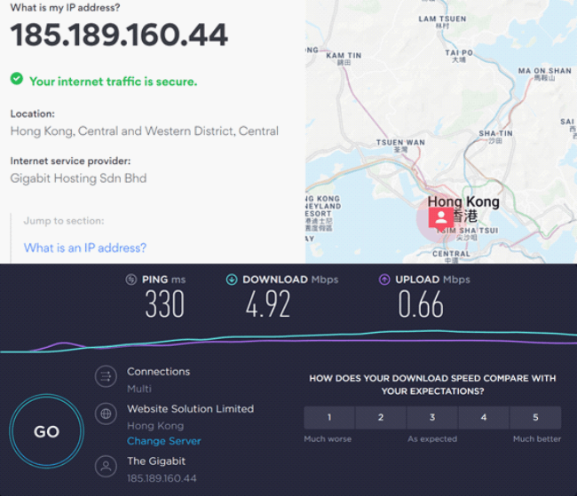 Speed test results on Hong Kong server
