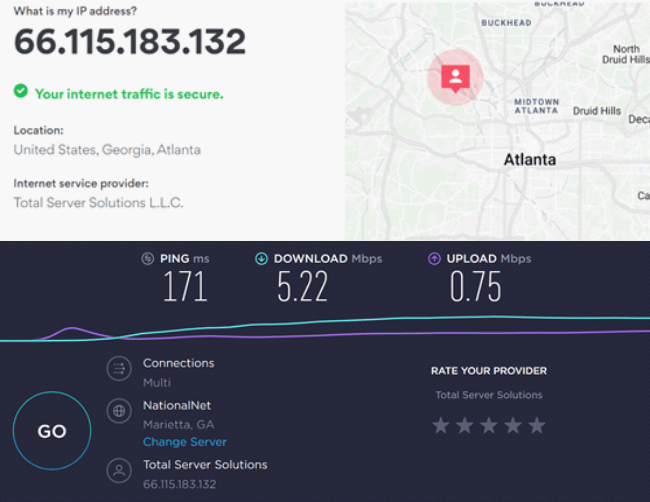 Speed test results on US server