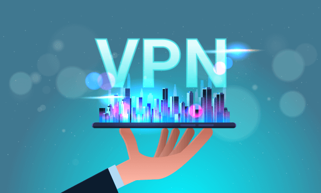 Hand holding a mobile phone with VPN concept