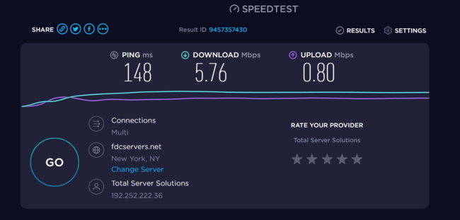 Proton VPN Local speed testing using US-based server
