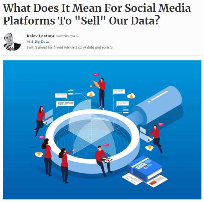 Screenshot of article about social media selling data