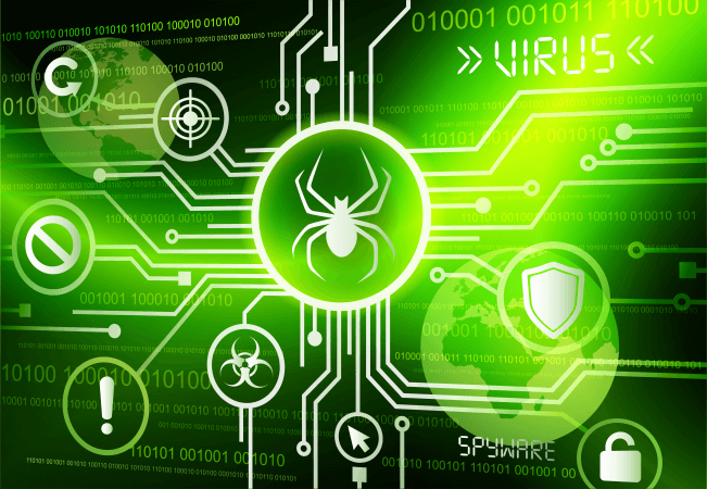 Network with virus and spyware illustration