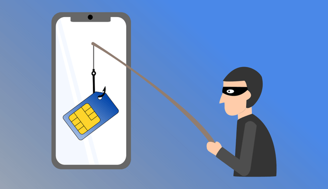 cybercriminal fishing a sim from a mobile phone