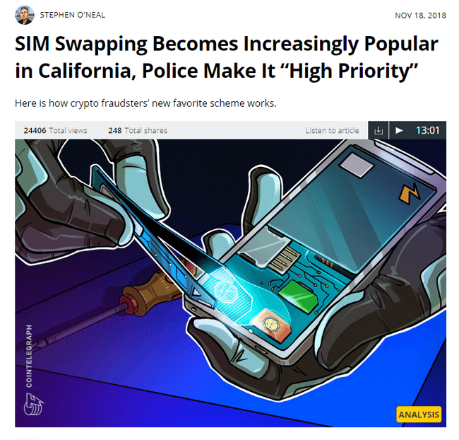 news item with a headline that writes SIM Swapping becomes increasingly popular in California