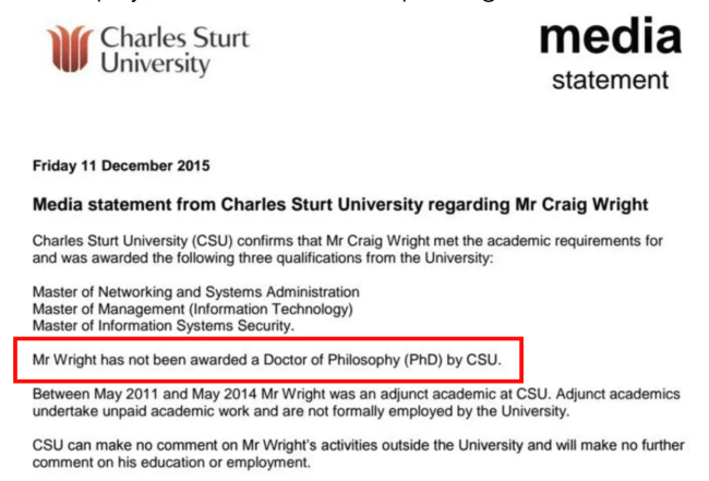 Craig lied about his philosophy PHD