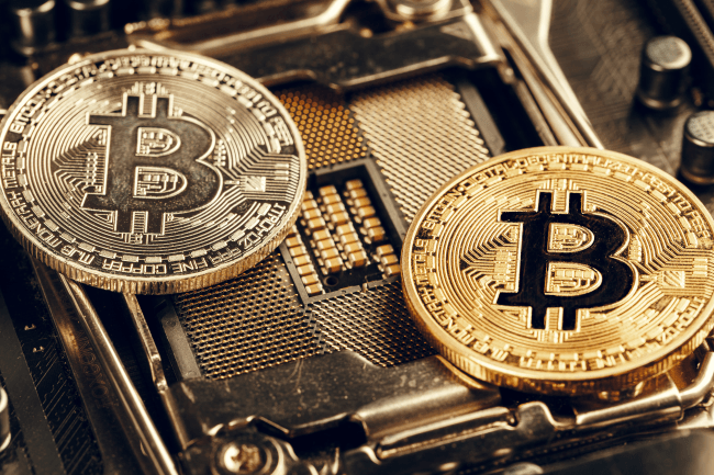 Golden bitcoin and computer chip