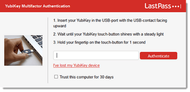 setting up yubikey on lastpass